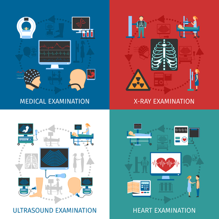 Medical ultrasound and x-ray heart examination 4 flat icons square composition banner abstract isolated vector illustration
