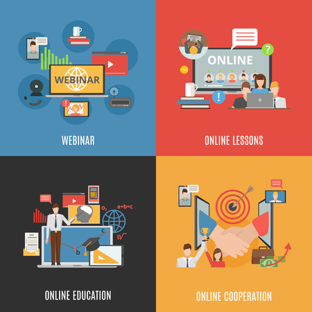moderator: 2x2 flat design concept set of webinar online education and online cooperation compositions flat vector illustration