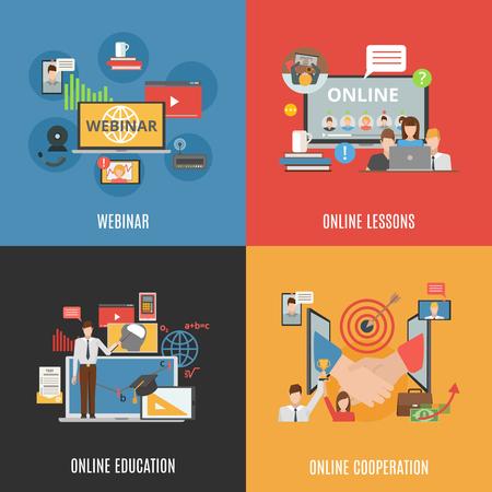 2x2 flat design concept set of webinar online education and online cooperation compositions flat vector illustration