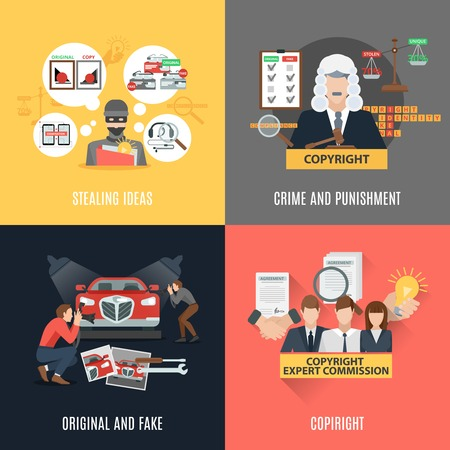 compliance: Compliance with copyright law expert commission symbols 4 flat icons square composition banner abstract isolated vector illustration