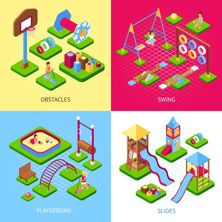 Set of 2x2 images of playground obstacles swings and slides kits isometric 3d vector illustration