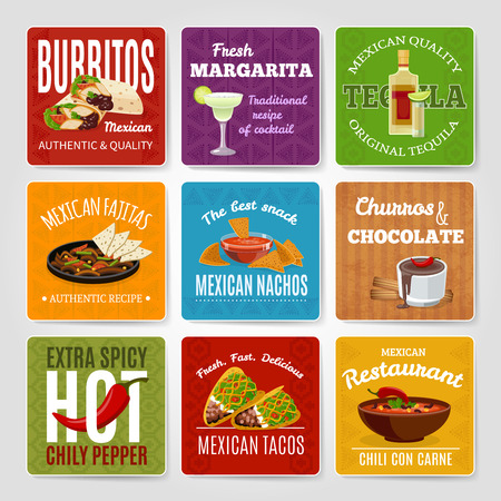 margarita: Mexican famous chili con carne and fajitas snack authentic food  recipes labels set abstract isolated vector illustration Illustration