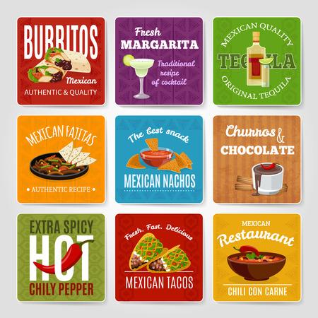 Mexicana famoso chili con carne y fajitas de aperitivo auténticas recetas de comida etiquetas conjunto ilustración abstracta aislado del vector Foto de archivo - 50703986