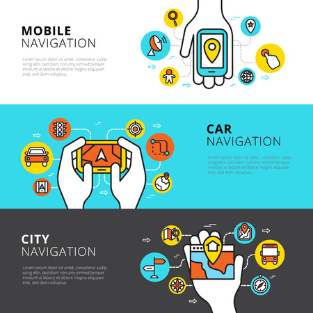 traffic: Flat horizontal  banners set of mobile car and city navigation vector illustration