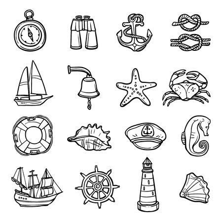 tall ship: Nautical black white icons set with anchor compass and seashells flat isolated vector illustration