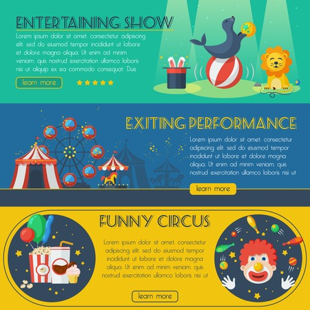 exciting: Circus horizontal banner set with exciting performance isolated vector illustration