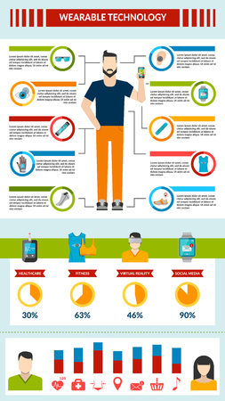eye wear: Wearable technology infographic with smart accessory fitness healthcare virtual reality social media vector illustration