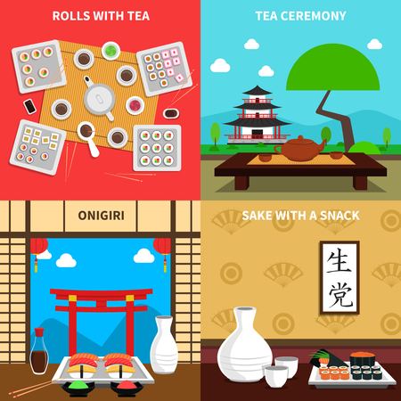 tea ceremony: Sushi design concept set with rolls and tea ceremony flat icons isolated vector illustration