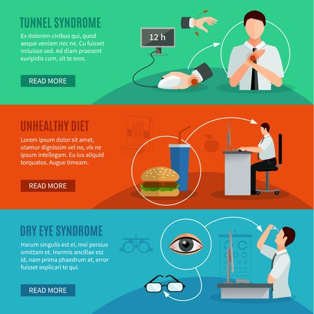 wrist pain: Office syndrome horizontal banners with people working on computer having wrist pain and dry eye disease and icons of unhealthy diet flat vector illustration