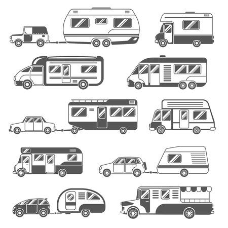 Camper icone nere bianco con rimorchi e macchine piatta illustrazione vettoriale isolato