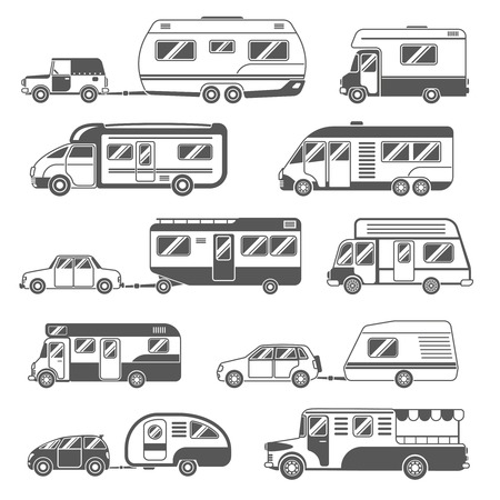 motors: Motorhomes black white icons set with trailers and cars flat isolated vector illustration