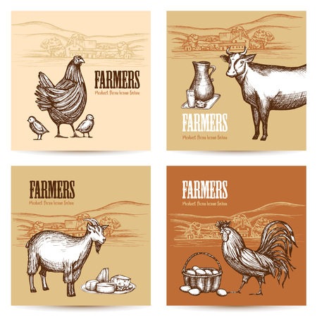 Farm market cards set with domestic animals and organic food sketch isolated vector illustration