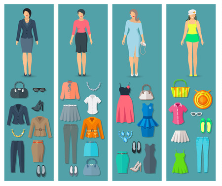 casual fashion: Vertical banners set of woman clothes icons in business cocktail beach and casual fashion styles vector illustration