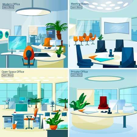 working in office: Modern office interiors 2x2 design concept set with meeting room open space office and private workspace flat vector illustration
