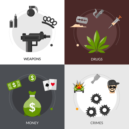 moonshine: Gangster flat icons composition of weapons drugs money and crimes square concept vector illustration