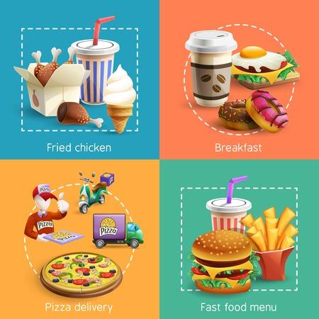 huevo caricatura: La comida rápida menú de desayuno restaurante con un servicio de entrega de pizza 4 iconos cuadrados de composición dibujos animados ilustración vectorial de la bandera Vectores