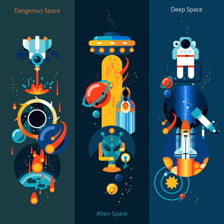 space station: Space vertical banner set with dangerous alien elements isolated vector illustration Illustration