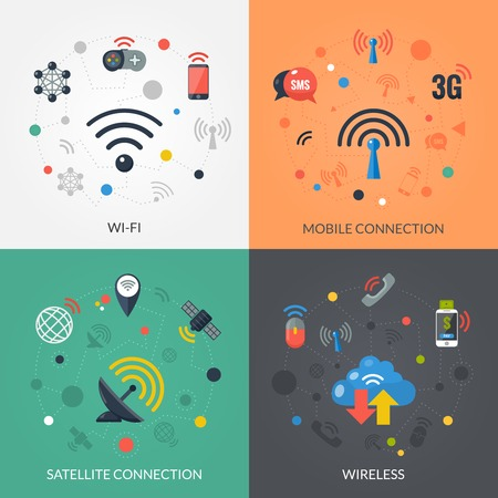 wireless connection: Satellite wireless connection technology for mobile electronic devices 4 flat icons square composition banner abstract isolated vector illustration Illustration