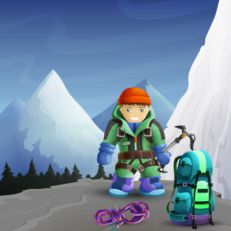 mountain climber: Alpine mountain climber cartoon character with ice axe against icy rocks peaks background poster abstract vector illustration