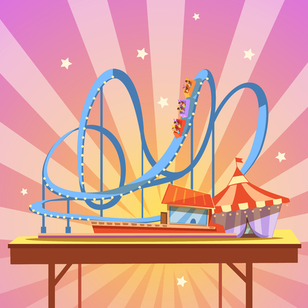 Amusement park cartoon with retro style rollercoaster on abstract background vector illustration