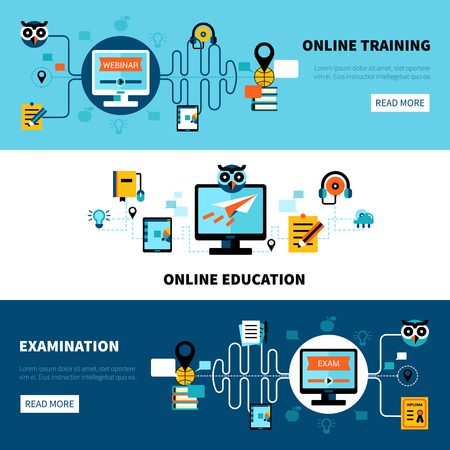 Flat horizontal online education banners collection of distance learning and examination vector illustration Vectores