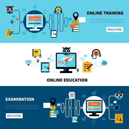 Plane horizontale bannières de formation en ligne collection de l'enseignement à distance et l'examen illustration vectorielle