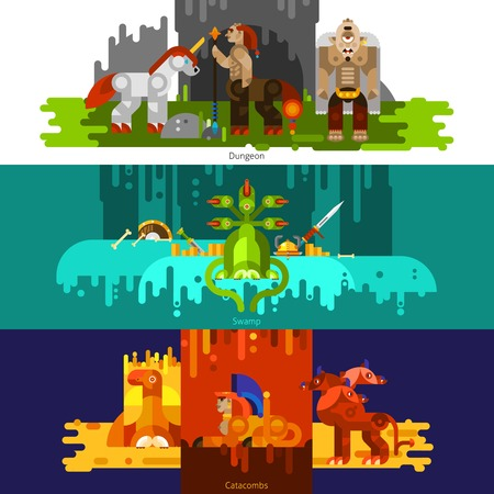 dungeon: Three banners flat of mythical creatures with dungeon and swamp and catcombs set horizontal vector illustration
