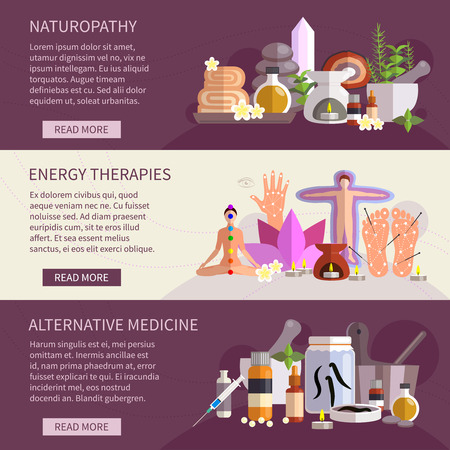 alternative medicine: Horizontal banners showing alternative medicine flat icons set       vector illustration