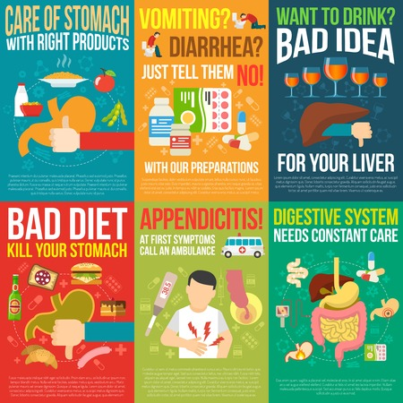 enzymes: Digestion posters set with bad diet and appendicitis symbols flat isolated vector illustration Illustration