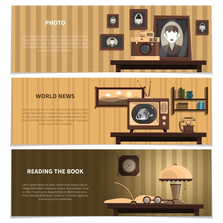 books isolated: Retro horizontal banners set with photo world news and books symbols flat isolated vector illustration Illustration