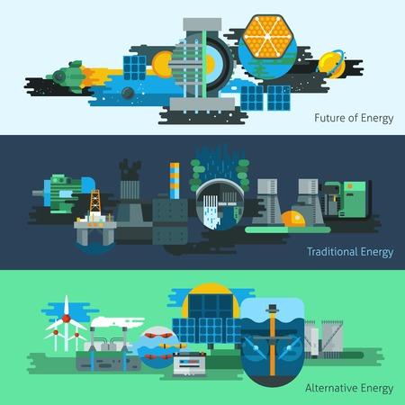 La producción de energía banner horizontal establece con la ilustración vectorial fuentes de energía tradicionales y alternativas aislado