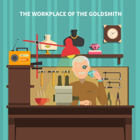 jeweller: Workplace of goldsmith with jewels room furniture and equipment flat vector illustration Illustration