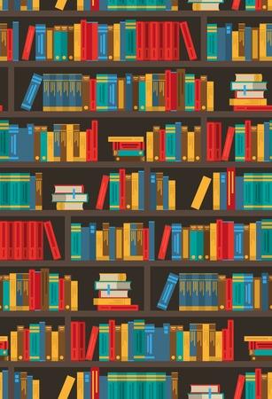 literatura: diseño de estanterías colorido para el símbolo de aplicación de biblioteca librería ereader o la decoración del cartel principal Imprimir la ilustración abstracta del vector