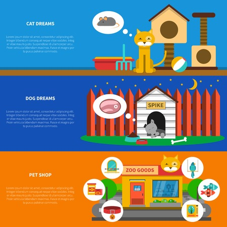 food shop: Pets horizontal banner set with domestic cat and dog elements isolated vector illustration