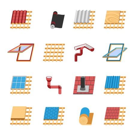Costruzione del tetto con le varie strutture di montaggio e strati isolanti icone piane raccolta astratto illustrazione vettoriale isolato Vettoriali