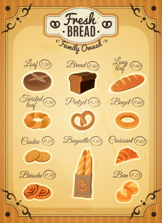 assortment: Vintage style traditional bakery shop bread assortment price list poster with twisted loaf flat abstract vector illustration