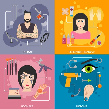 piercing: Set with bodyart  tattoo piercing process for man and woman vector illustration Illustration