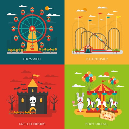 rollercoaster: Funfair design concept set with children and family attraction flat icons isolated vector illustration