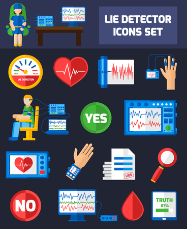 detection: Set color icons with dark background on theme of lie detection using different methods for websites presentation vector illustration Illustration