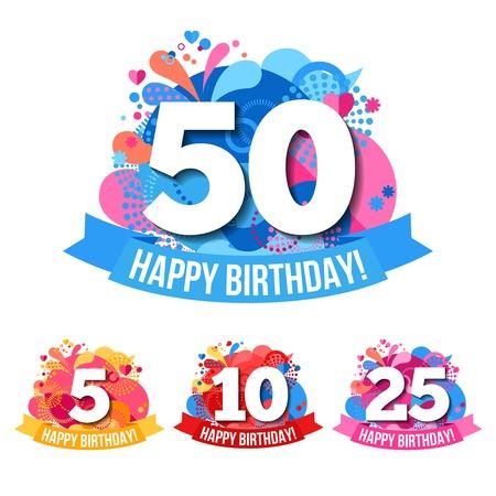 felicitaciones: emblemas aniversario planas con feliz cumpleaños felicitaciones cintas y globos de colores aislados ilustración vectorial