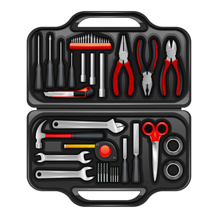 toolkit: Black plastic toolkit box for keeping storage and carrying instruments and tools for repair service realistic vector illustration Illustration