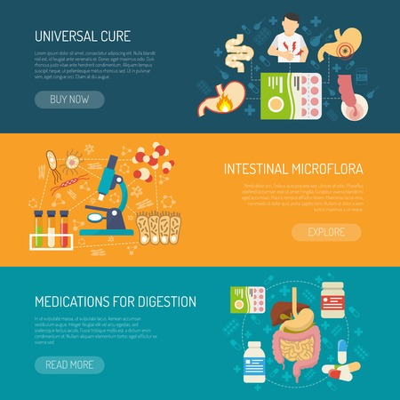 enzymes: Digestion horizontal banners set with care and medications symbols flat isolated vector illustration