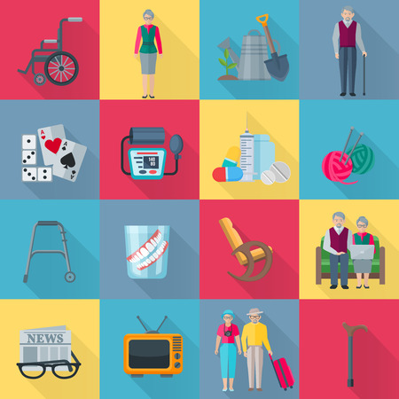 old nursing: Pensioners square shadow icons set with health and hobby symbols flat isolated vector illustration