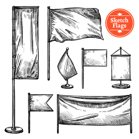 ensign: Hand drawn black set of flags with banner fluttering in wind ensign and pennant in retro style isolated vector illustration