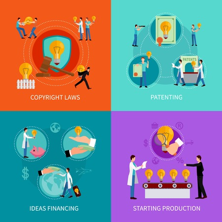 concept de la propriété intellectuelle définie avec le droit d'auteur en matière de brevets et de financement idées symboles illustration vectorielle