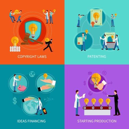 concepto de diseño de la propiedad intelectual establece con derechos de autor y las patentes de financiación Ideas símbolos ilustración vectorial