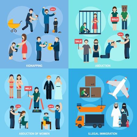 La trata de personas 4 iconos planos composición de la plaza con las mujeres secuestro y la inmigración ilegal resumen ilustración vectorial aislado Ilustración de vector