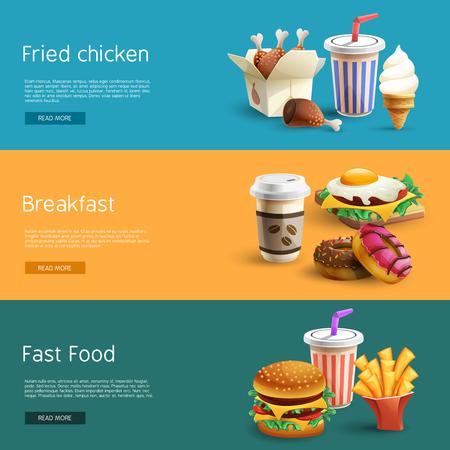 comida rapida: opciones de elección de la comida rápida de información en línea 3 banners horizontales conjunto con pictogramas de colores resumen ilustración vectorial aislado Vectores