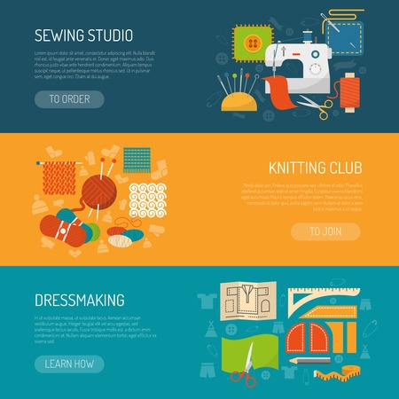 sew: Textile horizontal banner set with sewing and knitting flat elements isolated vector illustration Illustration