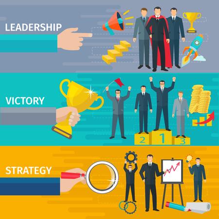 Negocios liderazgo banderas horizontales conjunto con la victoria y la estrategia de símbolos plana aislado ilustración vectorial Ilustración de vector